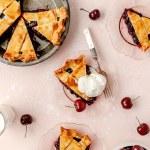 close up shot of slice of cherry pie