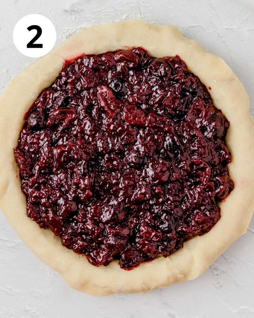 pie dough with cherry filling inside