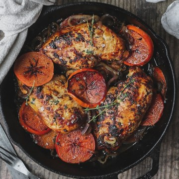 close up shot of harissa and persimmon chicken