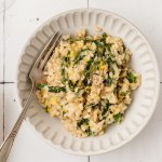 close up shot of bowl of leek and spinach risotto
