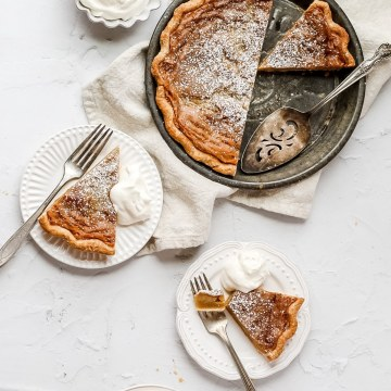 close up of brown butter bourbon chess pie