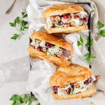chicken salad croissants with grapes and pecans