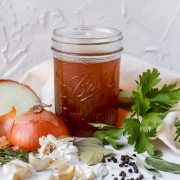 close up shot of homemade vegetable stock
