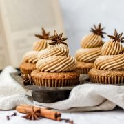 close up shot of dirty chai cupcakes