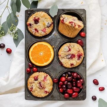 close up shot of cranberry orange muffins