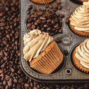 close up shot of espresso cupcakes with coffee beans