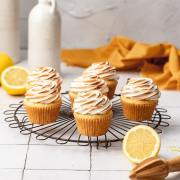 close up shot of lemon meringue cupcakes