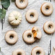 close up shot of brown butter pumpkin donuts