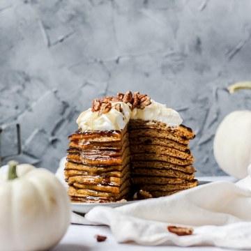 close up shot of sourdough pumpkin pancakes
