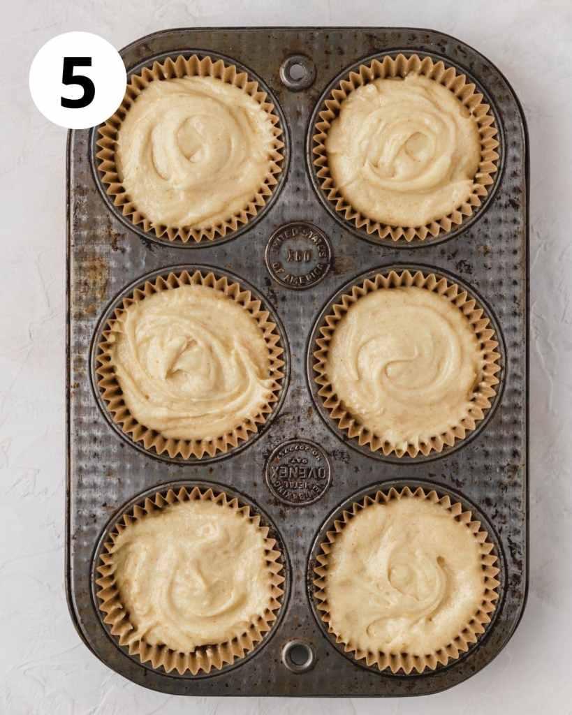 cupcake batter in cupcake pan