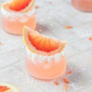 close up shot of grapefruit paloma cocktail