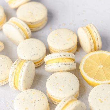 close up shot of lemon poppy seed macarons