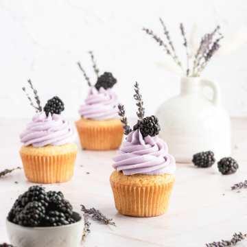close up shot of blackberry lavender cupcakes