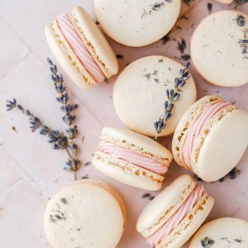 close up shot of blackberry lavender macarons