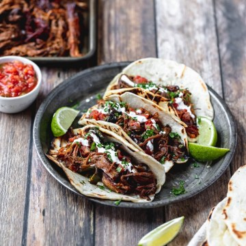 chipotle beer braised beef tacos close up