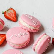 close up shot of strawberry macarons
