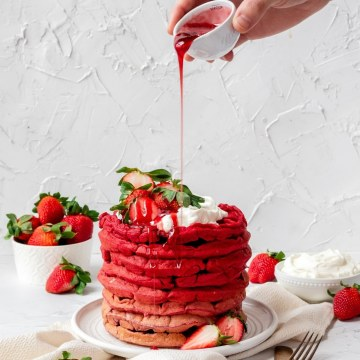 close up shot of strawberry ombre waffles