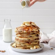 close up shot of sourdough discard pancakes