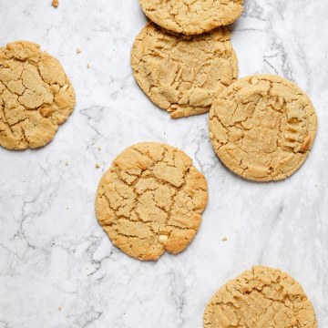 close up shot of chewy peanut butter cookies