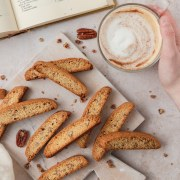 brown butter pecan biscotti with latte