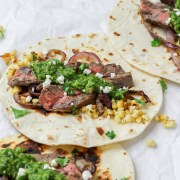 close up of chimichurri steak tacos
