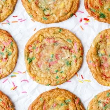 close up shot of funfetti sugar cookies