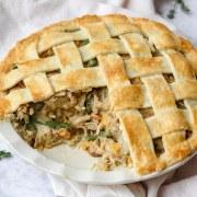 close up of chicken pot pie