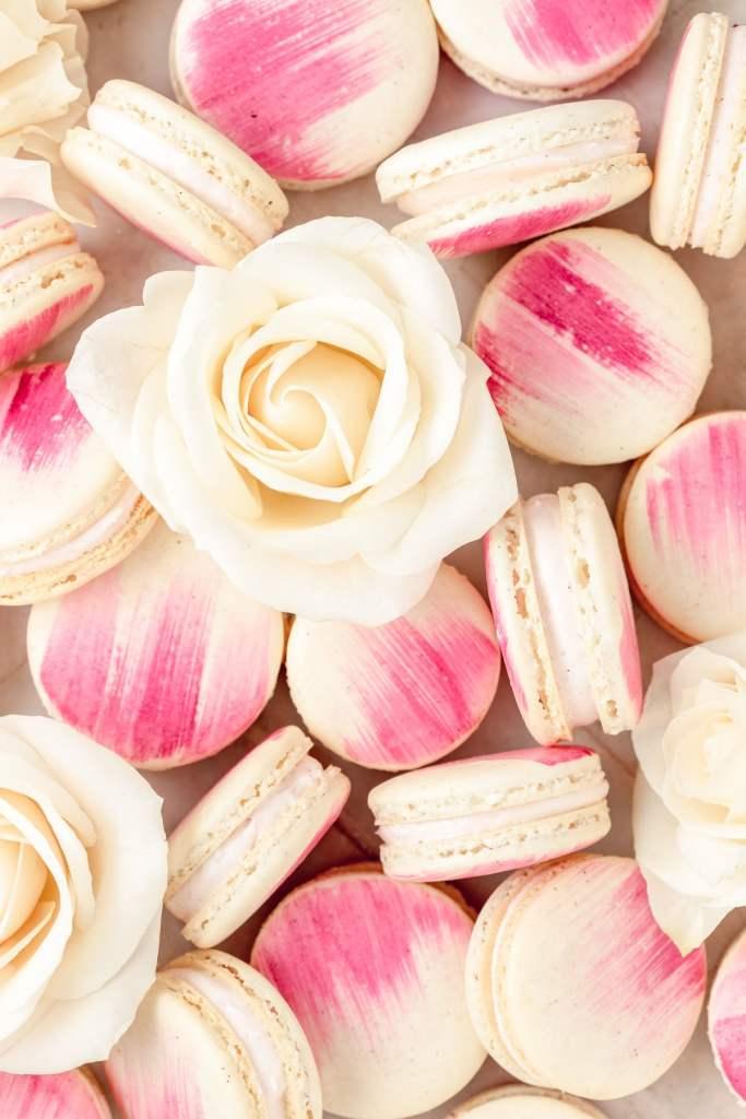 close up shot of vanilla rose macarons with white rose
