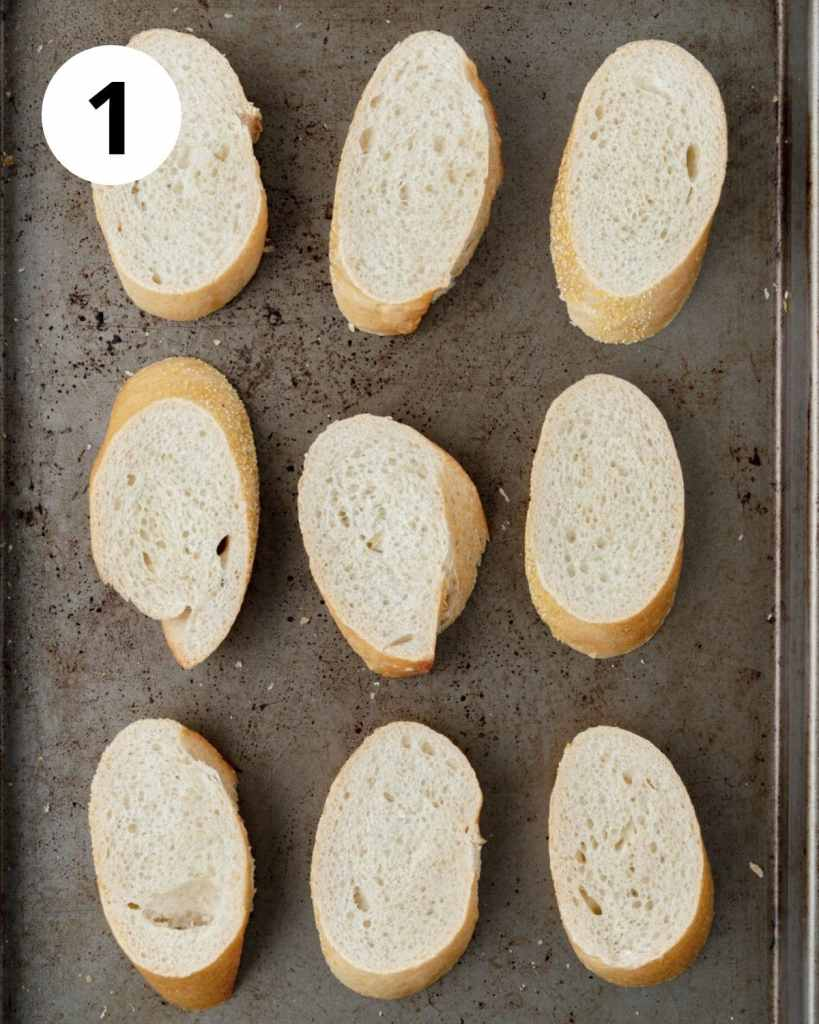 slices of bread on baking sheet
