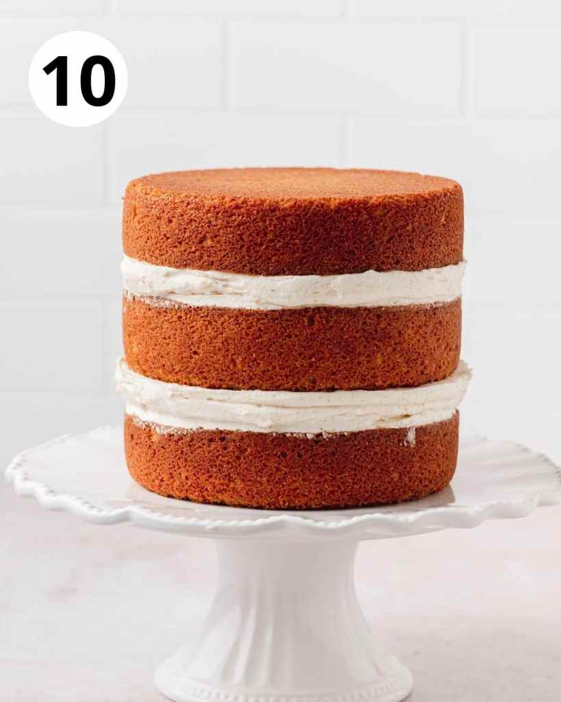 three layer cake before frosting