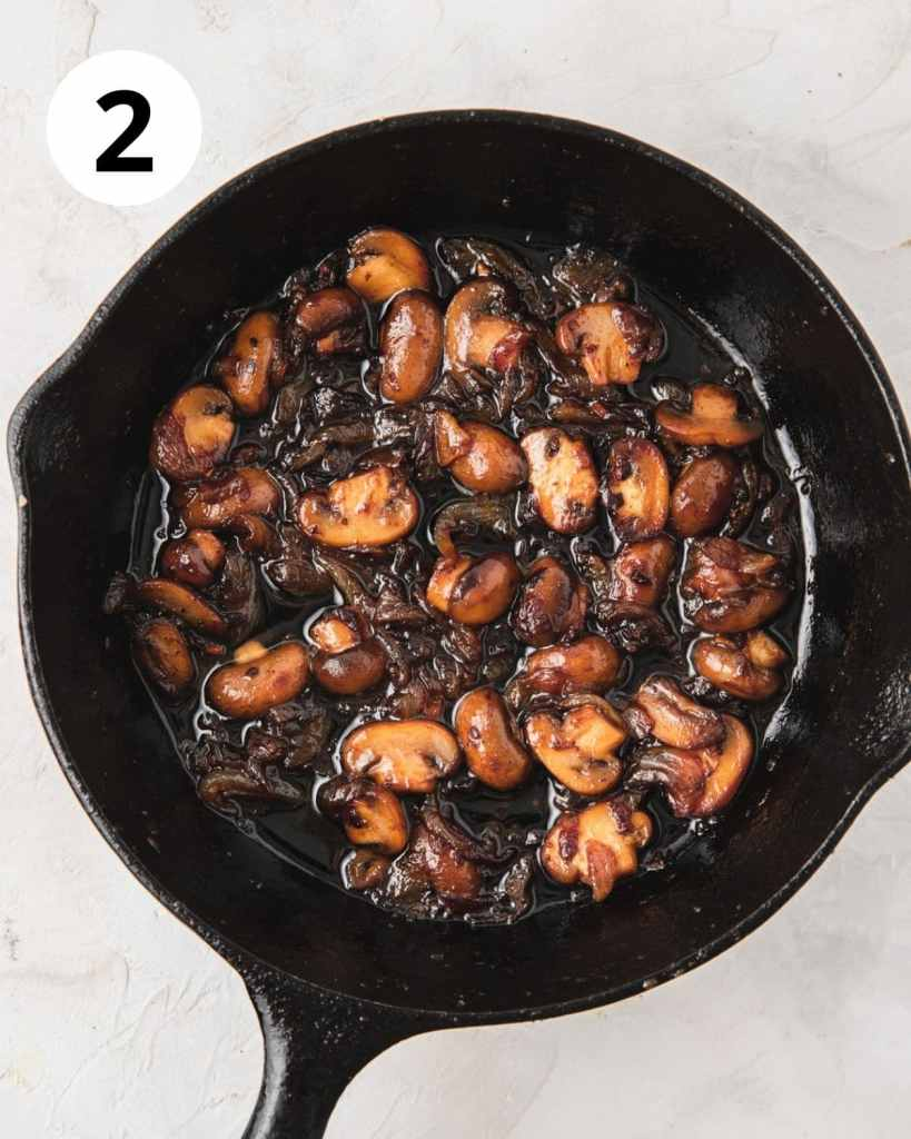 caramelized mushrooms and onions in cast iron