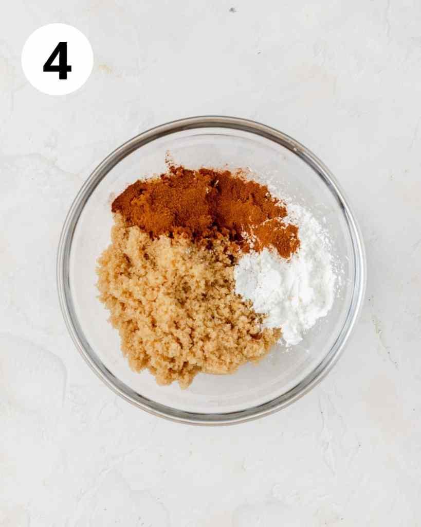 brown sugar cinnamon and cornstarch in bowl