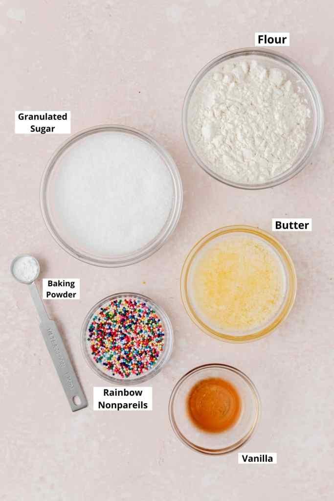 labeled shot of birthday cake crumbs ingredients