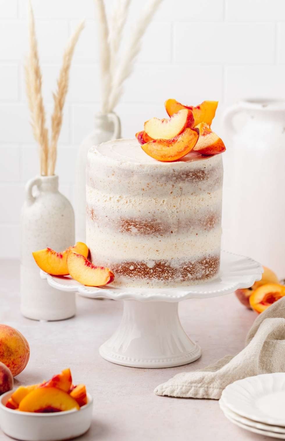 finished shot of brown butter peach layer cake
