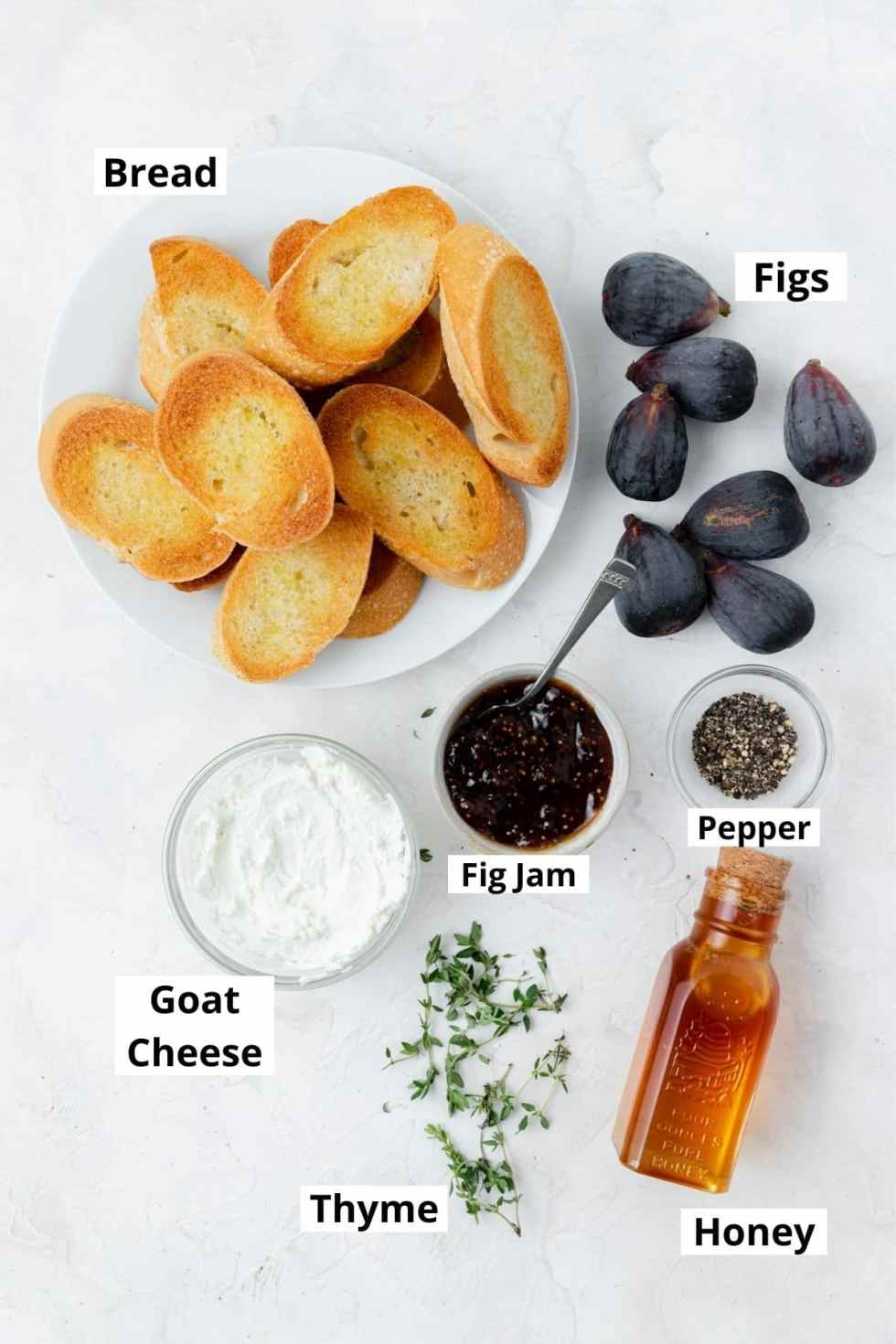 labeled shot of fig and goat cheese crostini ingredients