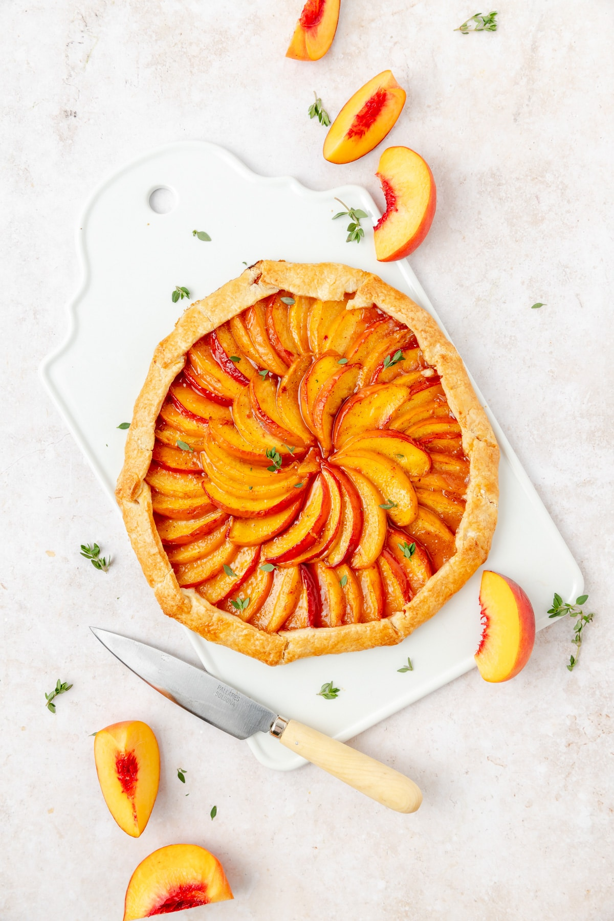 finished photo of peach thyme galette