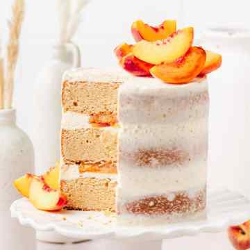 close up shot of brown butter peach layer cake
