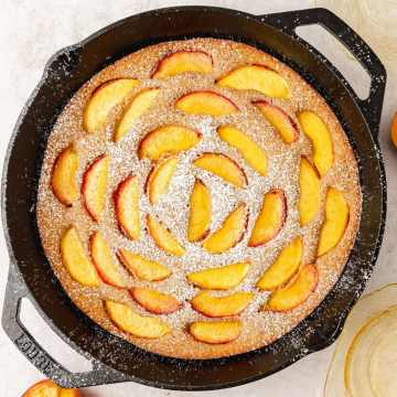 close up shot of brown butter peach skillet cake