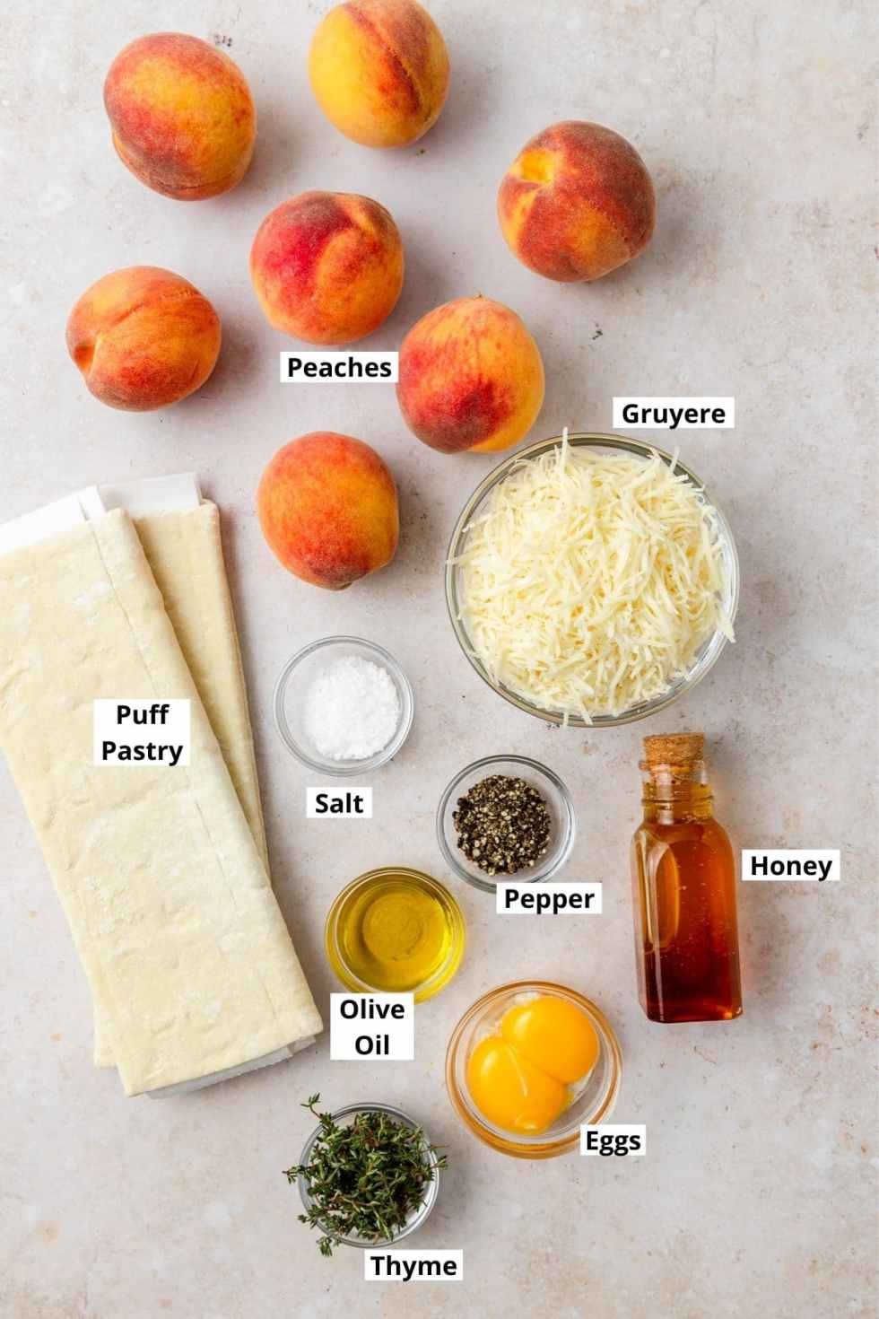 labeled shot of peach thyme tart ingredients