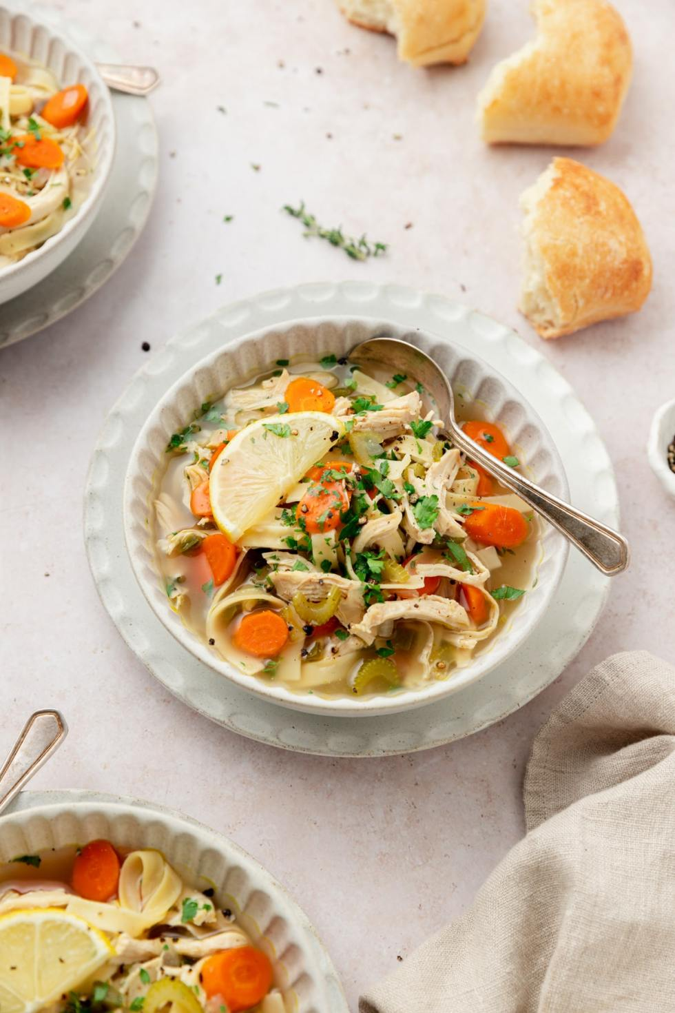 chicken noodle soup in small bowls