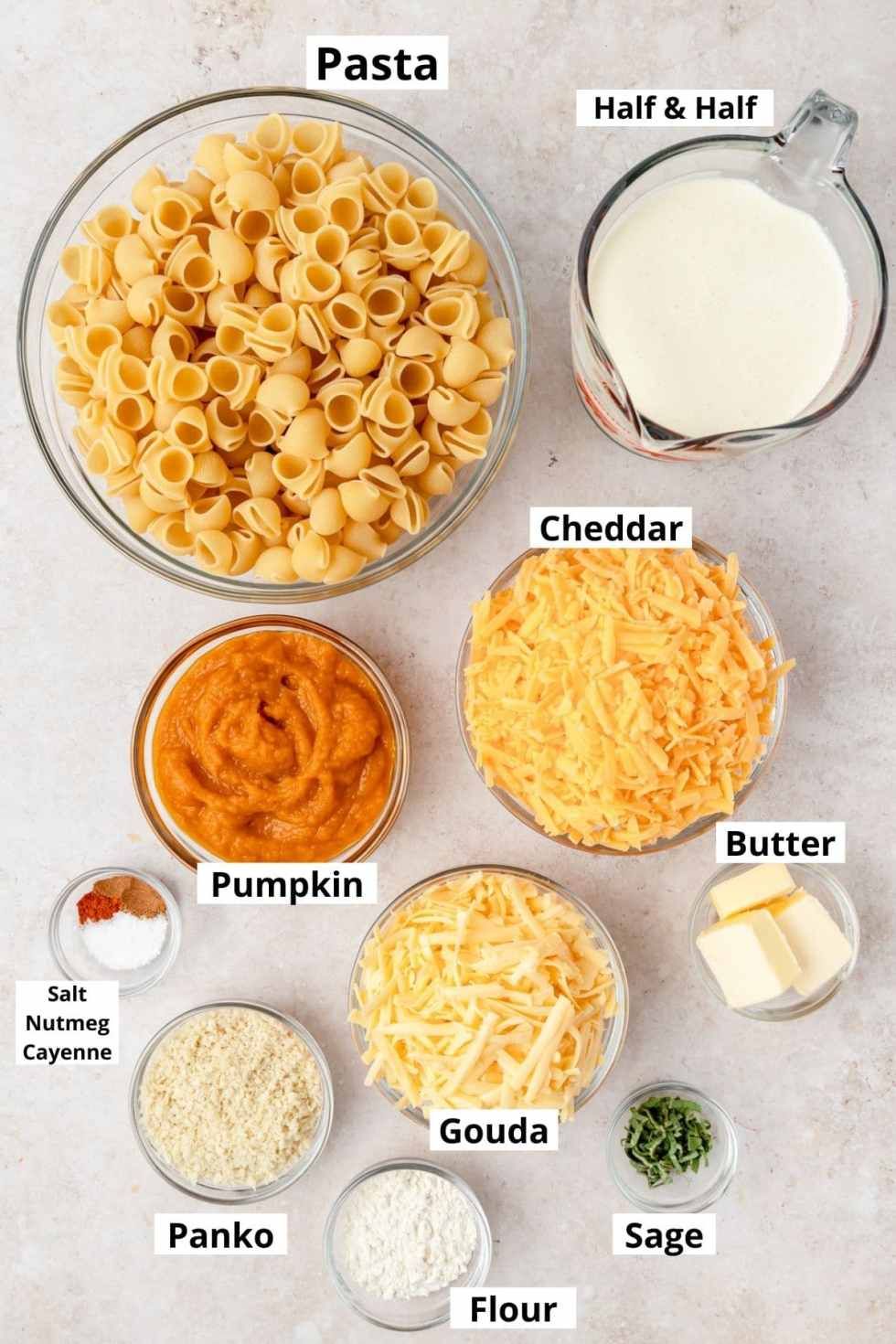 labeled ingredients for pumpkin mac and cheese