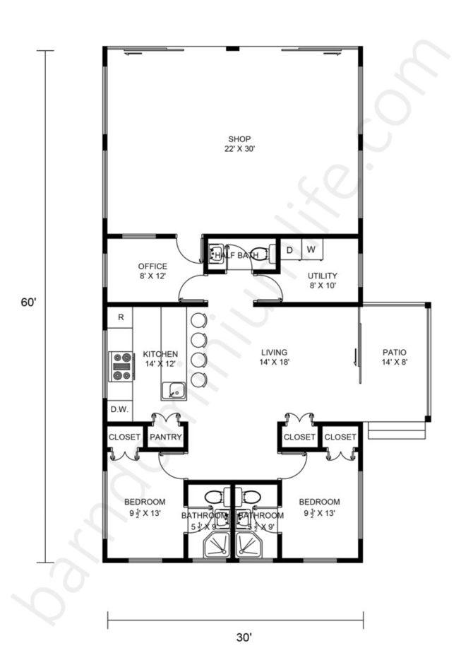 30x60 barndominium with shop floor