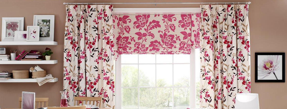 Designer print curtains from Barnes Blinds in Stoke-on-Trent