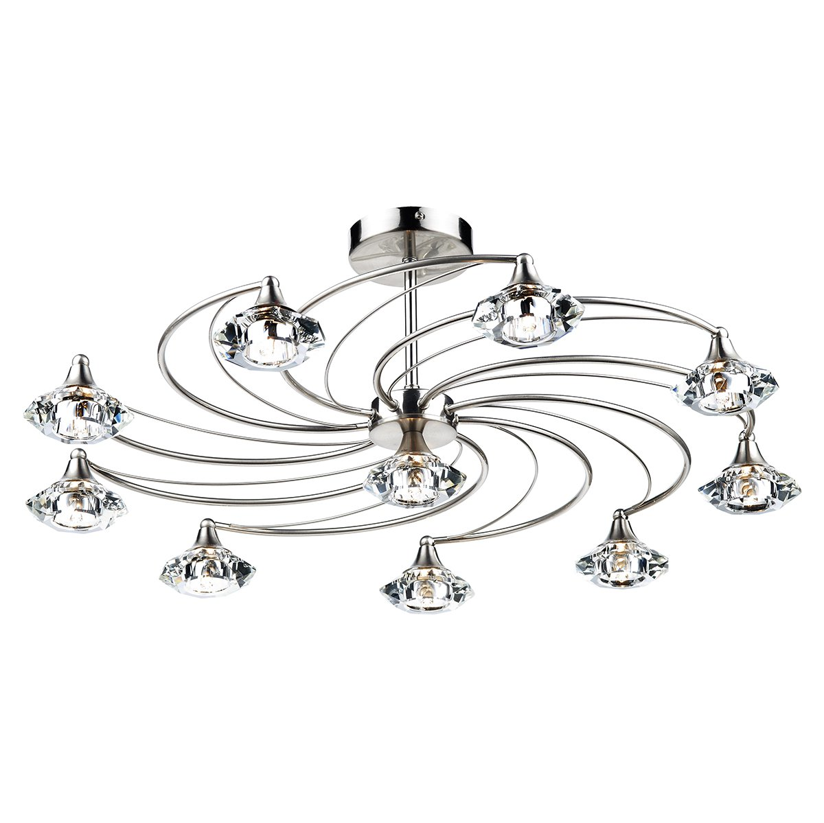 Dar Luther 10 Light Semi Flush Complete With Crystal Glass