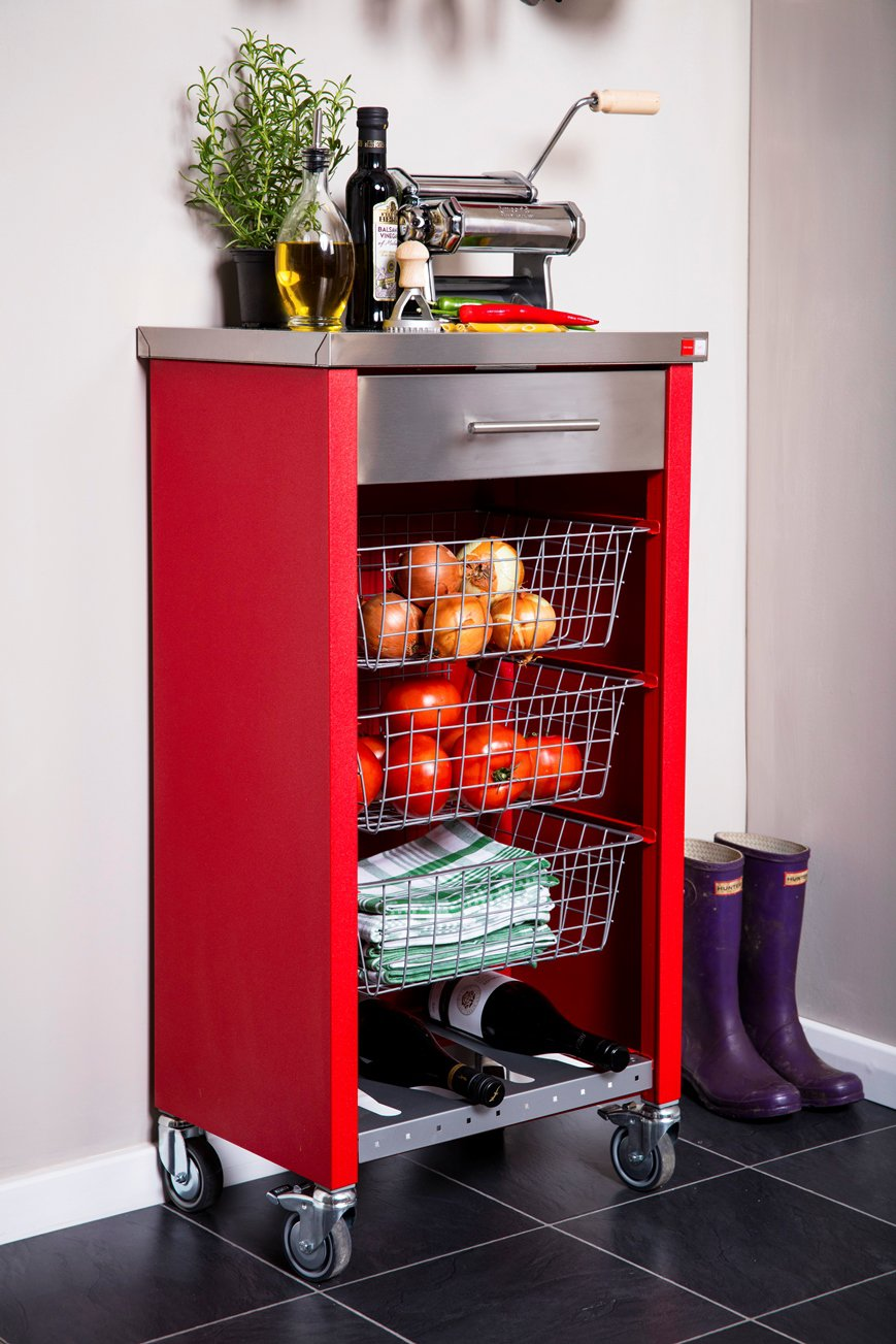 Hahn Dho Chelsea Kitchen Trolley In Stainless Steel Amp Red