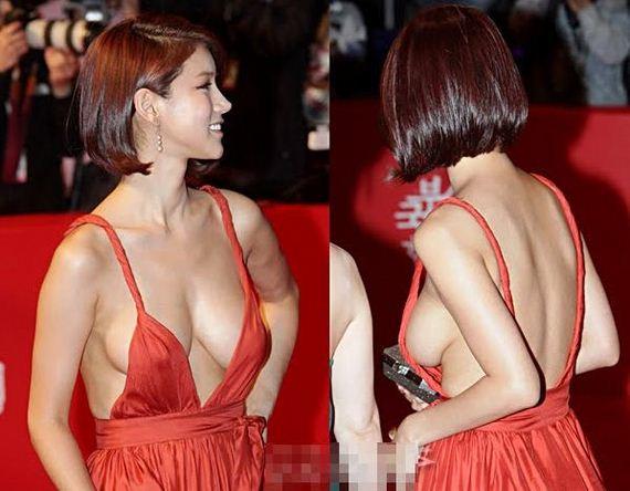 Korean Actress Oh In Hye Wearing Sexy Orange Dress (16 pics)