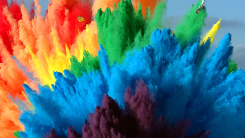 The Slow MO Guys Made A Rainbow By Exploding 25 Airbags In