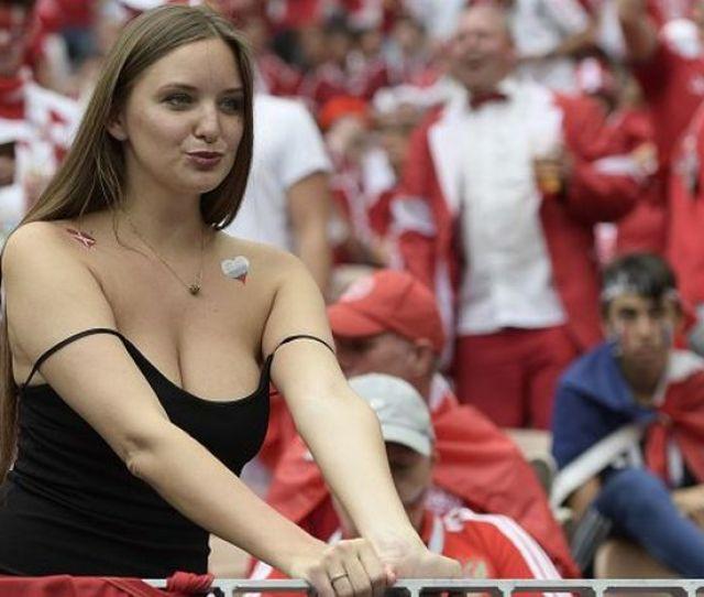 A Busty Fan At Denmark Vs France Game
