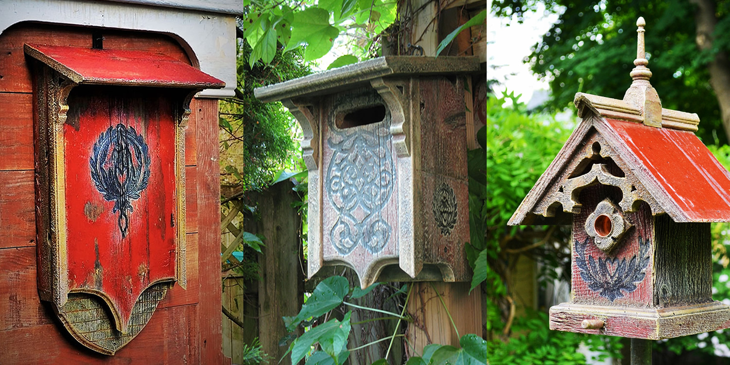 cathedral bat house, Victorian Bluebird birdhouse, and gothic birdhouse