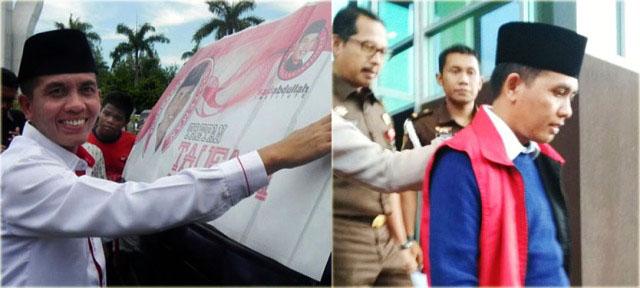TAUFADI DITAHAN KEJATI: Ahmad Taufadi memasang posternya kampanye maju di Pilkada (foto kiri) dan saat ditahan Kejati Jatim atas dugaan korupsi dana PI pengelolaan minyak dan gas (foto kanan). | Foto: Ist